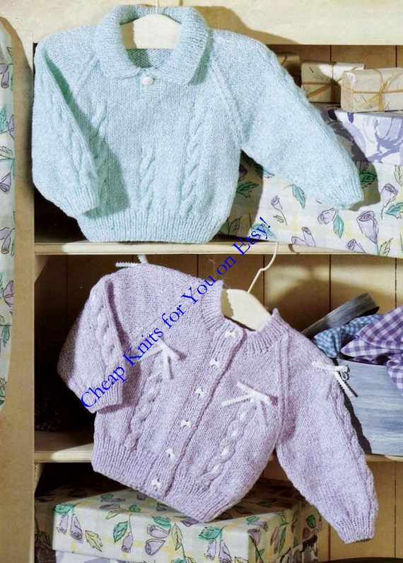 993f7f1dd03c Baby Cardigan and Jumper in DK 8 ply yarn for sizes 16 to 26
