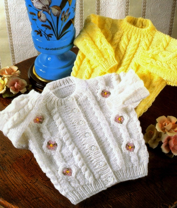e9c0b7427e4f Baby Cardigan and Jumper with cables in DK 8 ply yarn for
