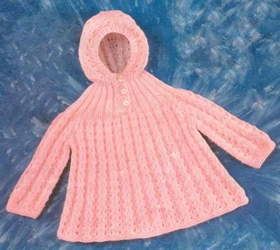 647e3e8e1449 Baby Hooded Sweater in DK 8 ply for sizes 16 and 18 Inches
