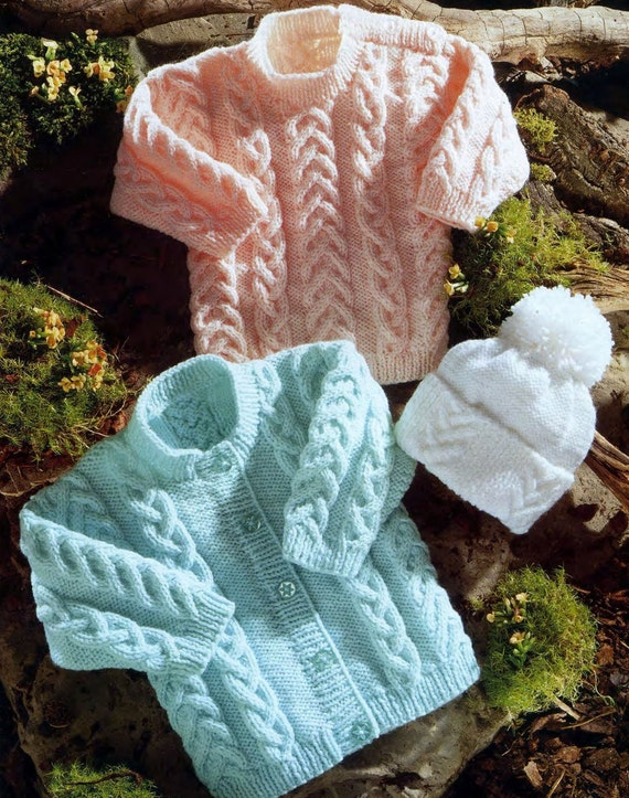 100541fa5b61 Baby Cardigan Jumper and Beanie Hat in DK 8 ply yarn for