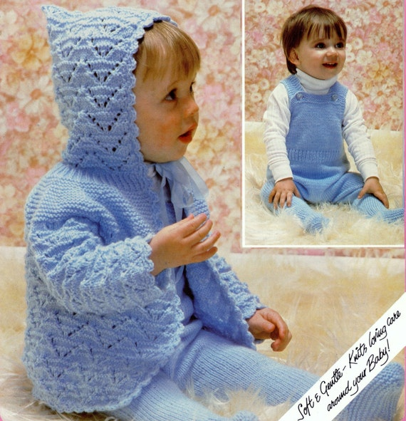 541bac38bd60 Baby Hooded Jacket and Dungarees in DK 8 ply yarn for sizes