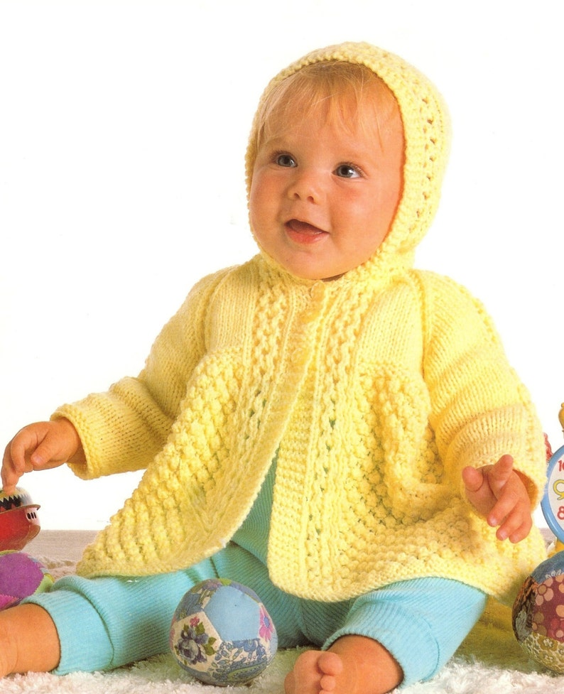 9e0939074bd1 Baby Hooded Cardigan   Hooded Sweater in DK 8 ply yarn for