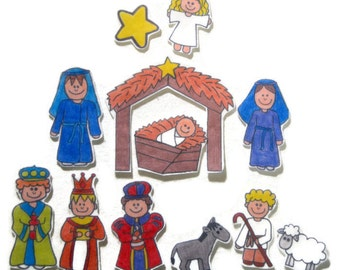 Nativity, Felt Board, Flannel Board, Felt Set, Homeschool, Bible Story, Sunday School, Felt Story, Christian Felt, busy book, quiet book,