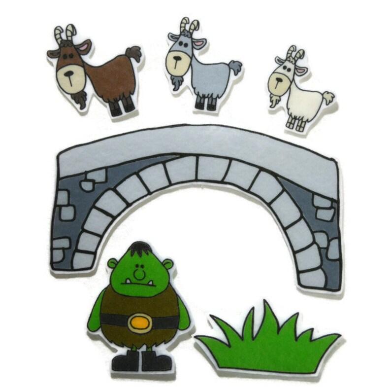 3 Billy Goats Gruff Fingerplay Nursery Rhyme Busy Book image 0