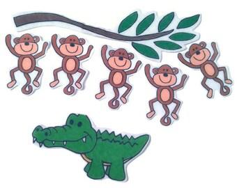5 Little Monkeys Swinging In A Tree, Fingerplay, Nursery Rhyme, Felt Board, Flannel Board, Quiet Book, Felt set, Homeschool, Felt Story