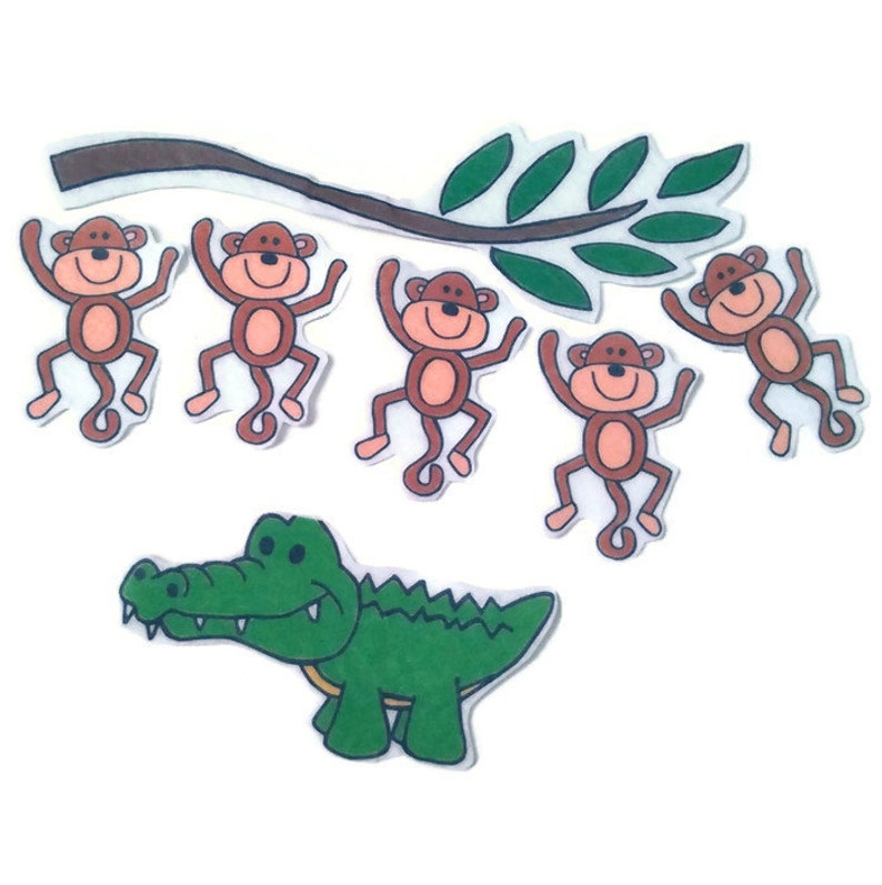 5 Little Monkeys Swinging In A Tree Fingerplay Nursery image 0