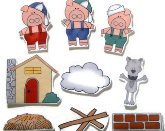 Three Little Pigs, Fingerplay, Nursery Rhyme, Busy Book, Felt Board, Flannel Board, Quiet Book, Felt set, Homeschool, Felt Story