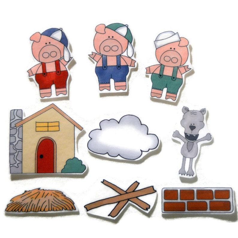Three Little Pigs Fingerplay Nursery Rhyme Busy Book Felt image 0