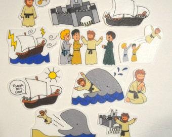 Jonah and the Whale, Felt Board, Flannel Board, Felt Set, Homeschool, Bible Story, Sunday School, Felt Story, Christian Felt, busy book,