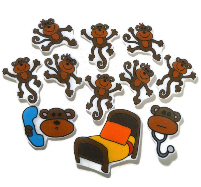Monkeys Jumping On The Bed Fingerplay Nursery Rhyme Busy image 0
