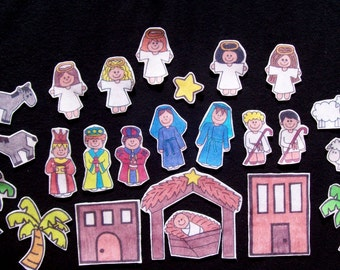 Nativity, Felt Board, Felt Board, Flannel Board, Felt Set, Homeschool, Bible Story, Sunday School, Felt Story, Christian Felt, busy book,