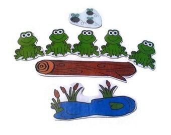 Five Speckled Frogs, Fingerplay, Nursery Rhyme, Busy Book, Felt Board, Flannel Board, Quiet Book, Felt set, Homeschool, Felt Story