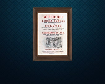Title page of Leonhard Euler's book Methodus Inveniendi - Science art - recovered image