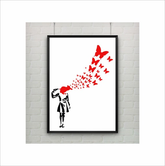 A4 Street Art BANKSY Poster BUTTERFLY SUICIDE A2 A3 Home Wall Print A1