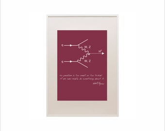 Science art - Physics - Feynman diagram and quote poster typographic prints on paper or canvas up to A0 size