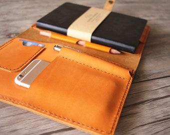 iPad Mini Case, Leather Portfolio, Apple pencil Sleeve, Large Moleskine Notebook Covers, iPhone Holder, Pen Slot, Custom Travel padfolio