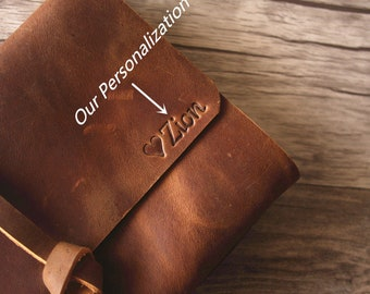 Embossing on leather journal initials or personalization service from eLeatherDesign - Service ONLY