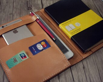 "iPad Pro 10.5"" Case Leather Portfolio iPhone 8 (plus) Sleeve, Extra Large Moleskine Notebook iPad Air Covers - Top Italian Veg Tan Leather"