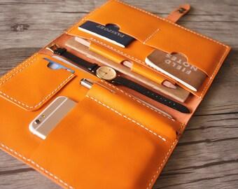 iPad Mini 4 Case, Leather Portfolio Large Moleskine Notebook Covers, iPhone Holder, Pen Slot, Travel wallet padfolio