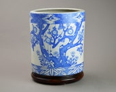 Imari Antique Jardiniere Vase. Big Japanese Blue White Porcelain Planter Cover Hibachi Flower Pot