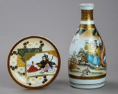 Antique Kutani Flask Plate Set Japanese Porcelain FE3