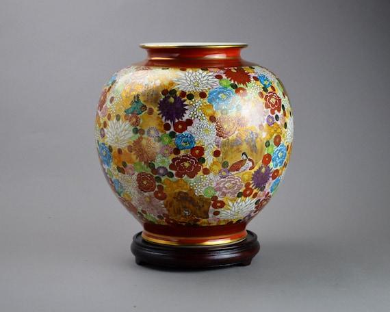 Large Japanese Satsuma Thousand Flowers Kutani Vase Etsy