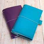 Aqua / Purple Fauxdori, Travelers notebook with pockets, Fauxdori cover, Vegan Midori, Midori cover, Planner cover, TN cover