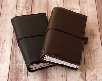 Black / Chocolate brown, Travelers notebook, Fauxdori cover, Vegan Midori, Planner cover, TN cover, Vegan fauxdori, Midori cover