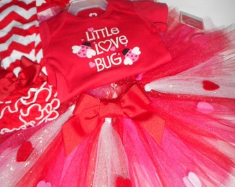 Valentine's Day Tutu Outfit Set Onesie Leg Warmers Headband Tutu Set Infant Toddler Girls Outfit
