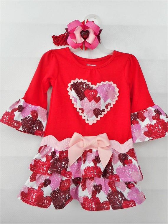 Valentine/'s Day Dress with Handmade Ruffles Toddler Girls Sizes New