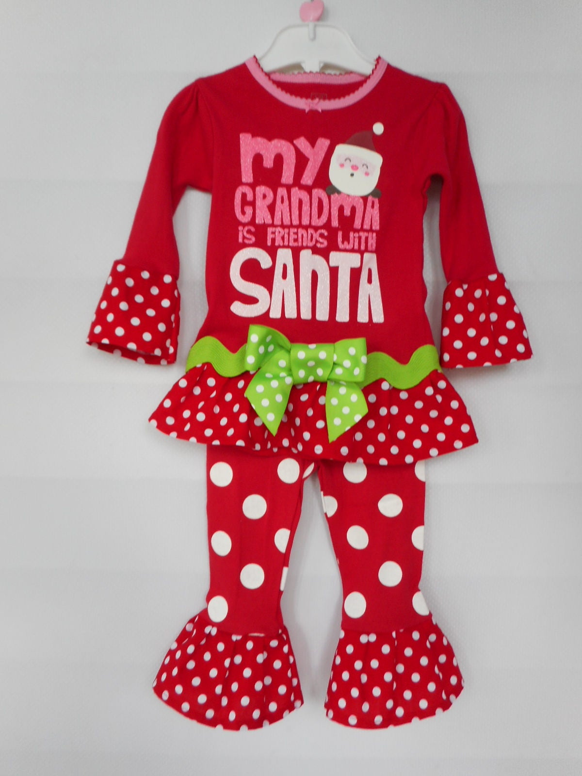 39c9e36681c8 Toddler Girls Christmas Pajamas Ruffle Pajamas Grandma Knows Santa Pajamas  Carters Pajama Set