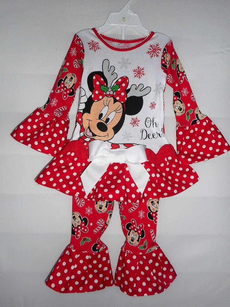125ece5f4920 Minnie Mouse Christmas Pajamas Holiday Pajama Set Ruffle Pajamas Toddler  Girls Pajama Outfit