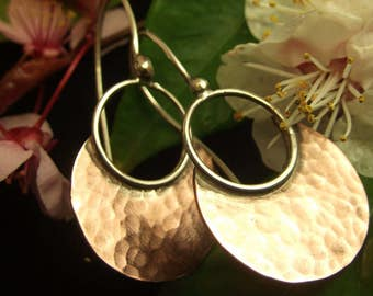 Mixed Metal Earrings Copper Sterling Silver Earrings Handcrafted Hammered Sterling Silver Artisan Design Hippie Hoop Earrings Boho Jewelry