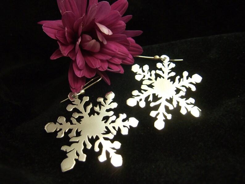 Snowflake Earrings Watercrystal Plain Sterling Silver Earrings Snow Crystal Handmade Design Artisan Silverwork