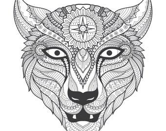 Tiger Zentangle digital colouring sheet