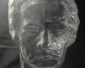 vintage70s clear glass head Ludwig van Beethoven glass head bust for an earphone hat or cap