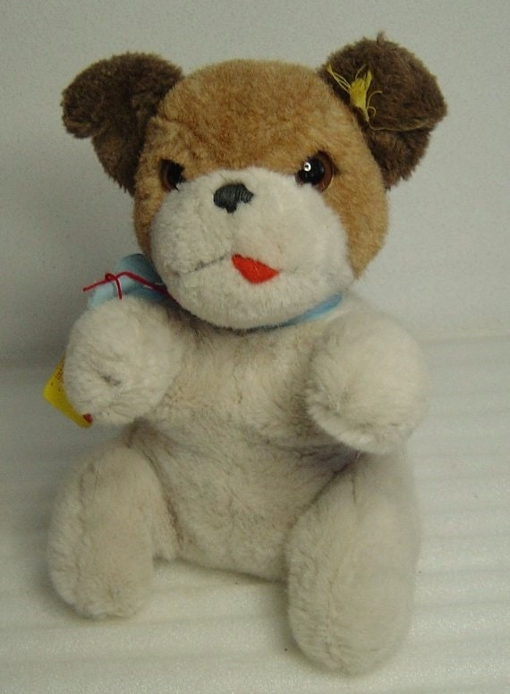 lovely vtg 60s Steiff plush Mopsy ball dog with button and tag