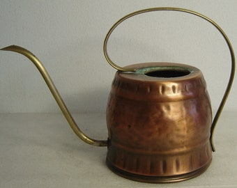 vintage 70s hammered copper and brass watering can
