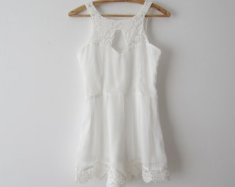 a071eb5606fe White One Piece Shorts Jumpsuit Sheer White Overalls White Lace Rompers  Extra Small Summer Overalls Sexy Romper Festival Clothing