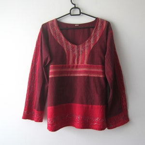 Vintage Women/'s Pink Embroidered Top Short Sleeve Peasant Folk Style Top Bright Colors Summer Top Medium Size Comfortable Festival top