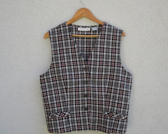 Linen Blend Cotton Plaid Women's Vest Everyday Fitted Checkered Black White Red Waistcoat  Extra Large Size