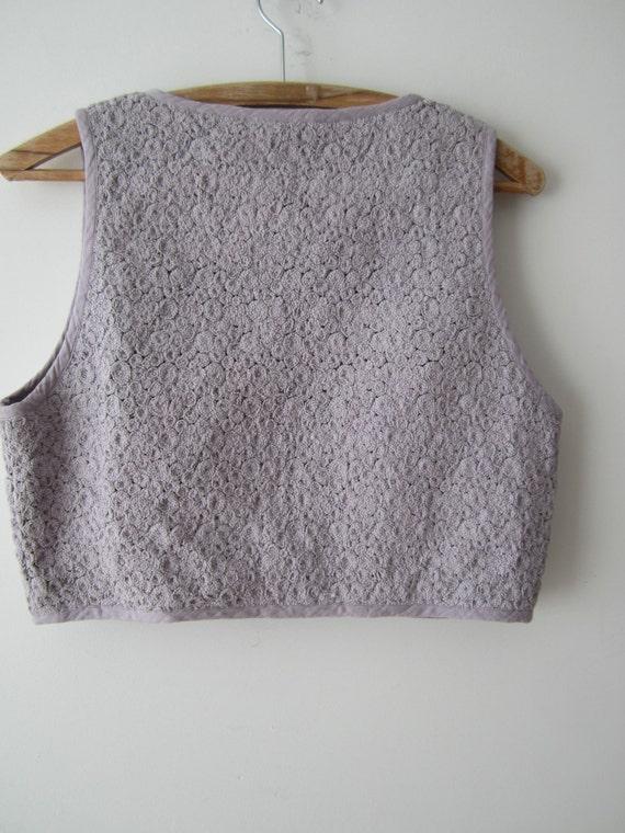 Cropped Women's Vest Festival Waistcoat Pale Violet Vest Medium Size Short Vest Bolero Vest Bohemian Vest Margit Brandt Copenhagen Vest