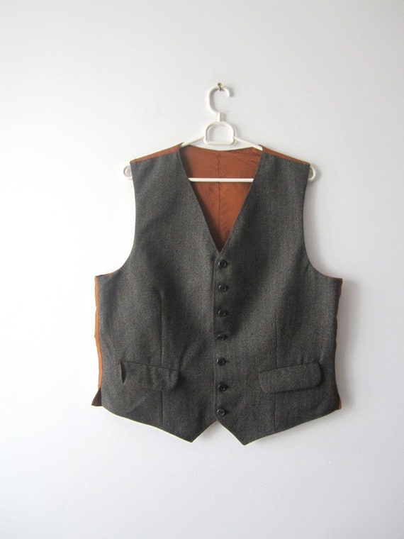 Vintage Gray Waistcoat Men/'s Gray Vest Men/'s Formal Gentlemen/'s Fitted Vest Light  Large Size Edwardian Victorian Renaissance Steampunk