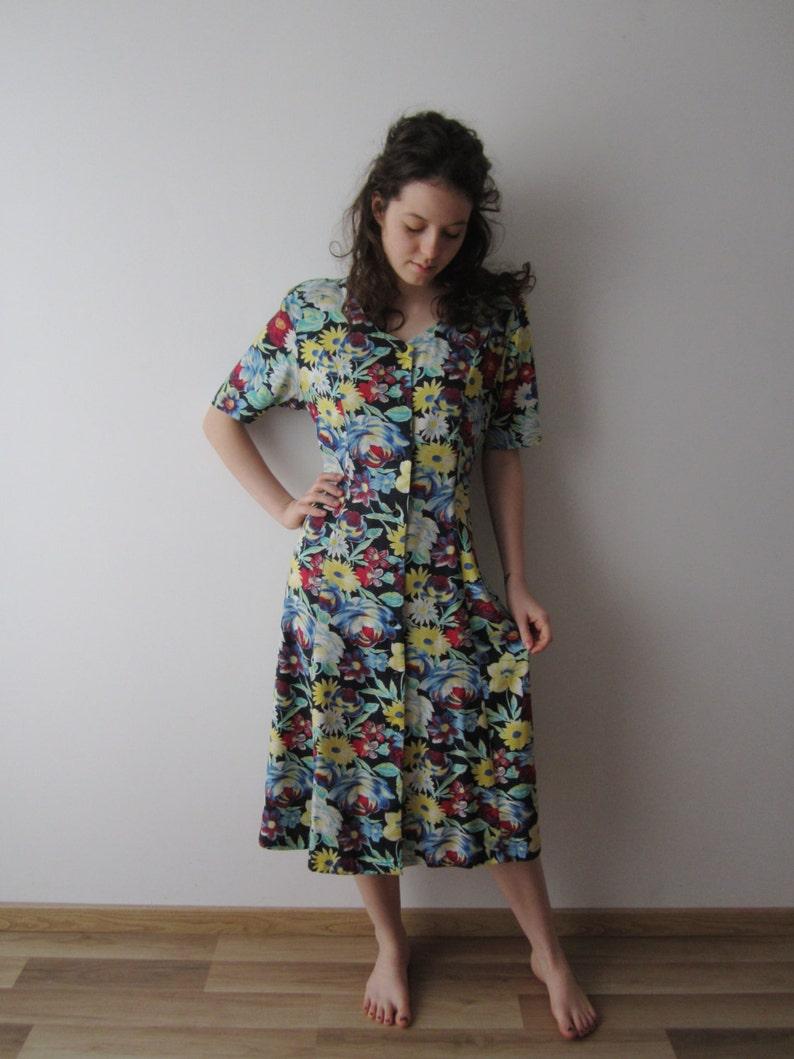 472e25b103 90's Summer Dress Flowers Print Short Sleeve Button Up | Etsy
