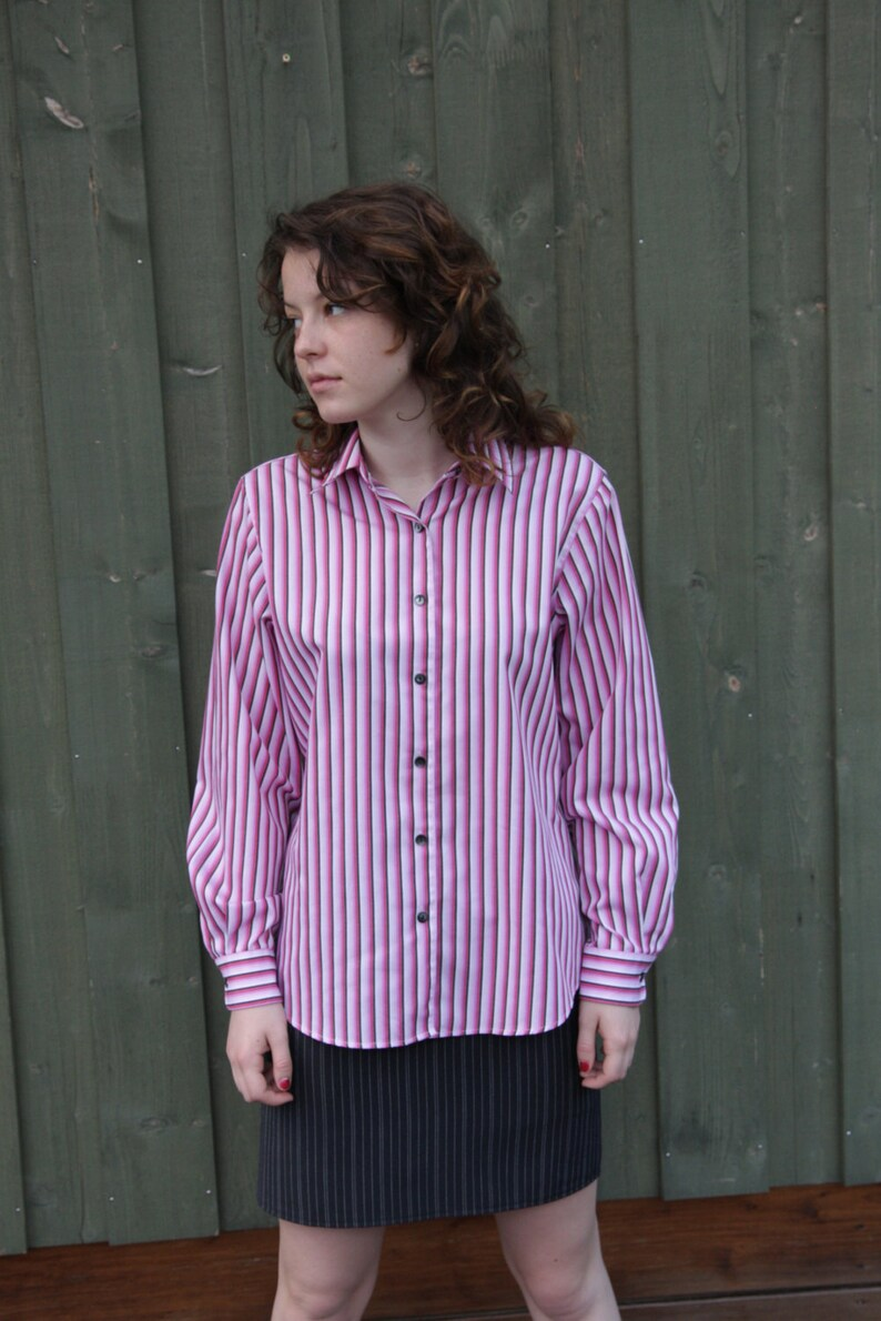 7e21f083359043 Women's Striped Pink Shirt Button Up Long Sleeves White | Etsy