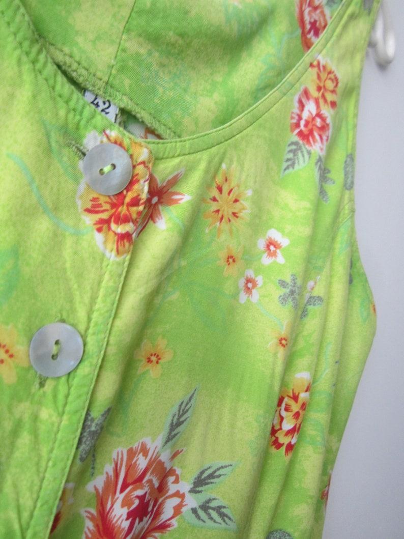 90/'s Bright Summer Dress Green Flowers Print Sleeveless Button Up Dress Hipster Shirt Dress Large Size Comfortable Vintage Dress