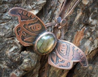 Labradorite Moth Necklace