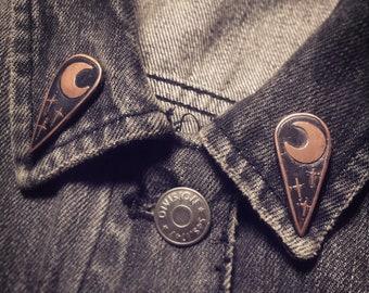 Rustic Copper Moon & Stars Lapel Pins