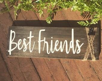 Best Friends Sign w/ Photo Clip/Friends/Twine/Gift/Friends