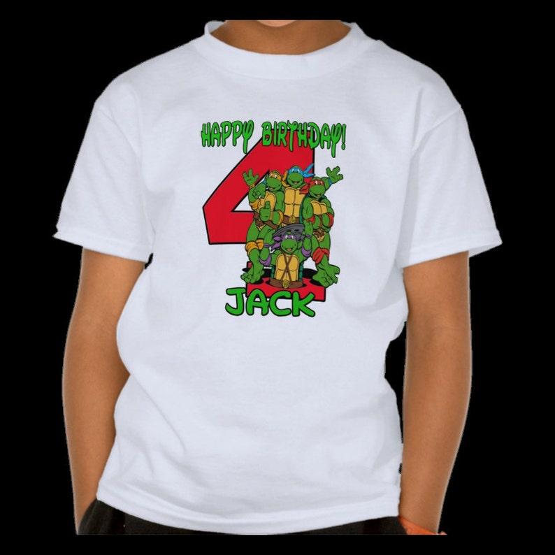 b67bf77286 Tortugas Ninja TMNT-camiseta nombre y cumpleaños número 1T